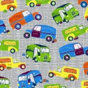 M Makower Transport - 3456 - Traditional Grocery Vans on Grey Check - 6783 S40 - Cotton Fabric
